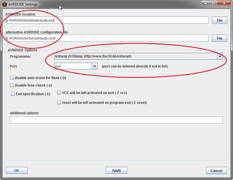 Konfigurowanie programu AVR8 Burn-O-Mat.