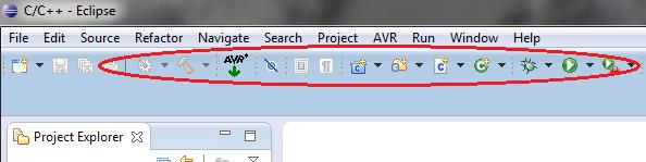 Pasek narzędzi do programowania AVR.