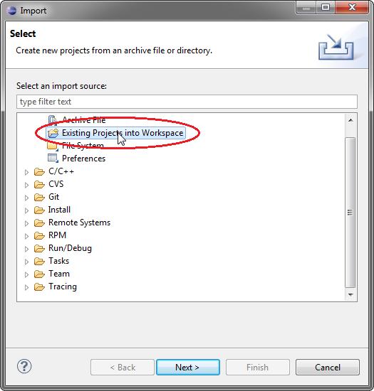 Eclipse - Wybieranie typu importu.